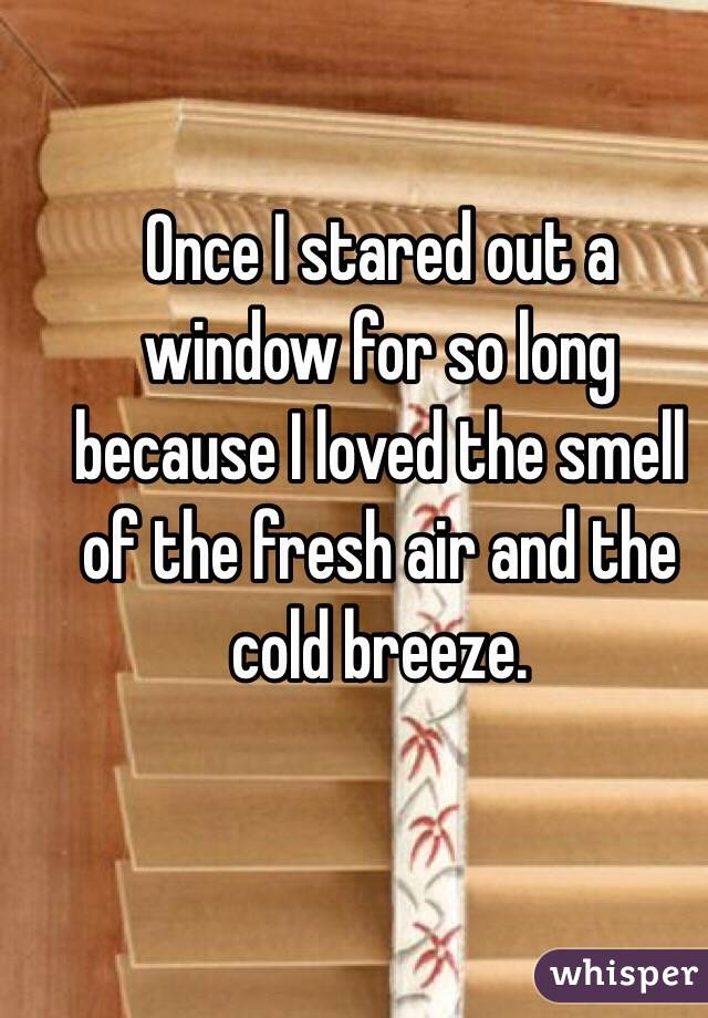 Once I stared out a window for so long because I loved the smell of the fresh air and the cold breeze.