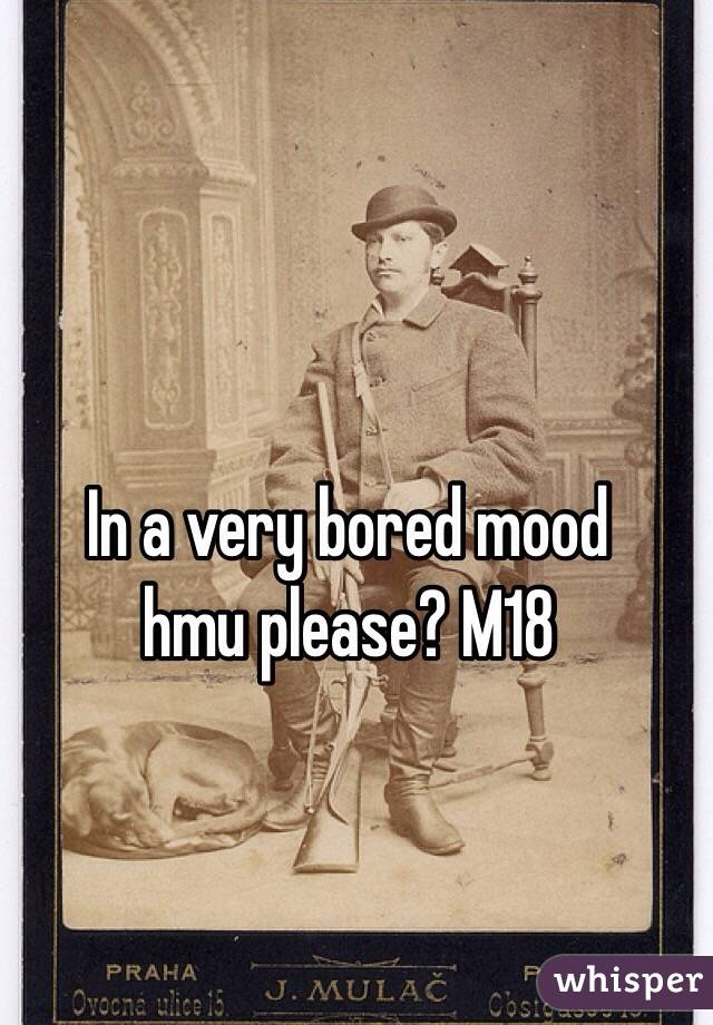 In a very bored mood hmu please? M18