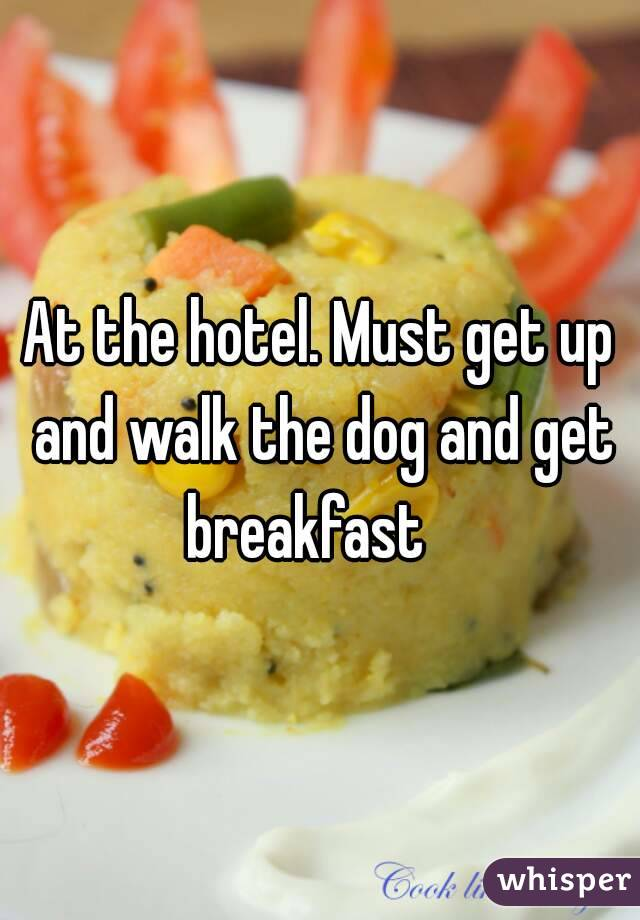 At the hotel. Must get up and walk the dog and get breakfast