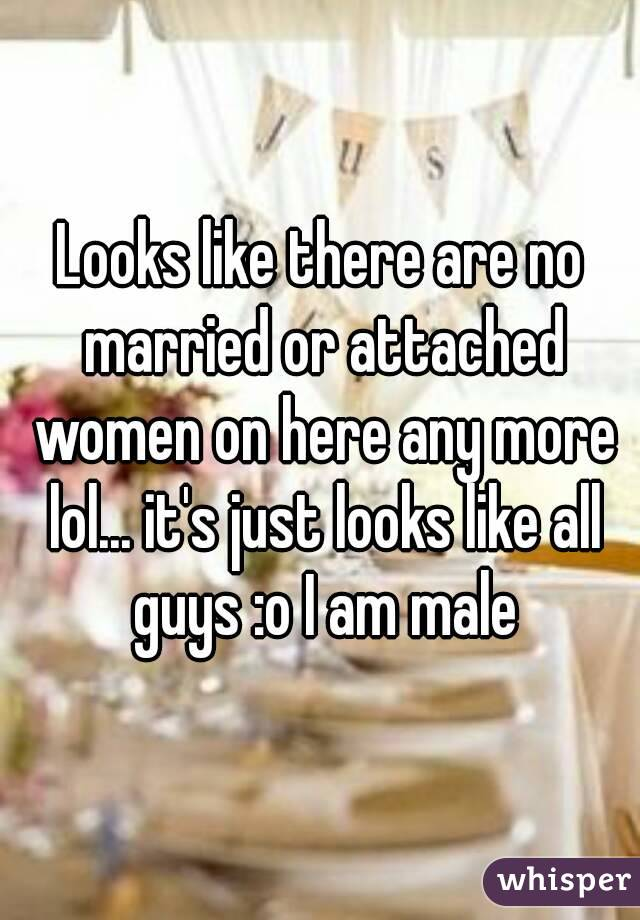 Looks like there are no married or attached women on here any more lol... it's just looks like all guys :o I am male