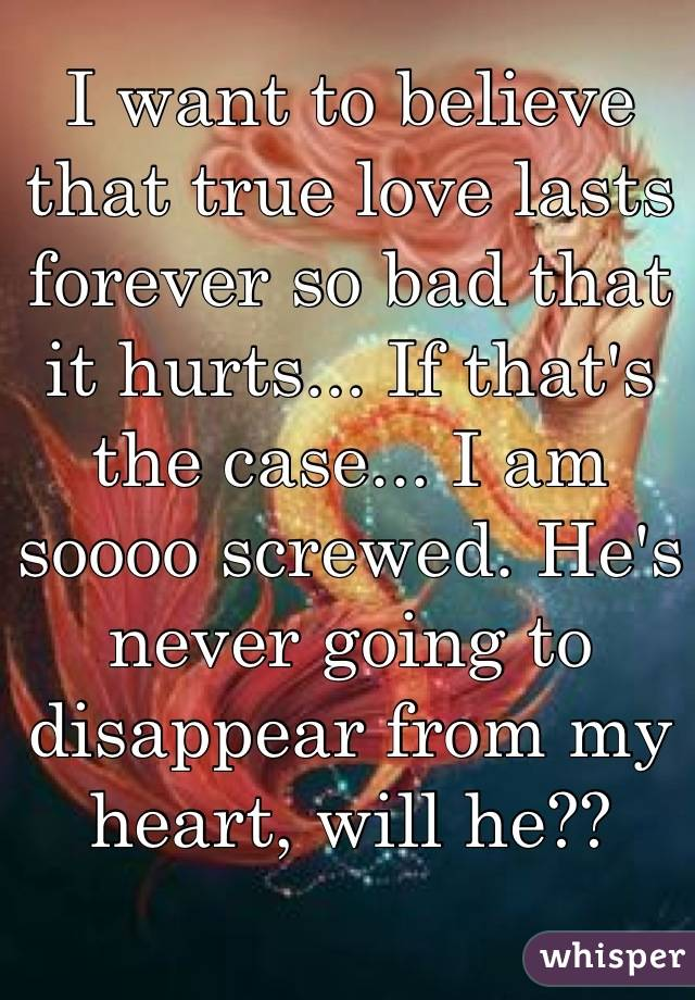 I want to believe that true love lasts forever so bad that it hurts... If that's the case... I am soooo screwed. He's never going to disappear from my heart, will he??