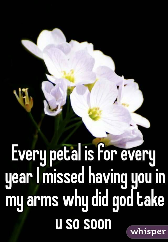 Every petal is for every year I missed having you in my arms why did god take u so soon