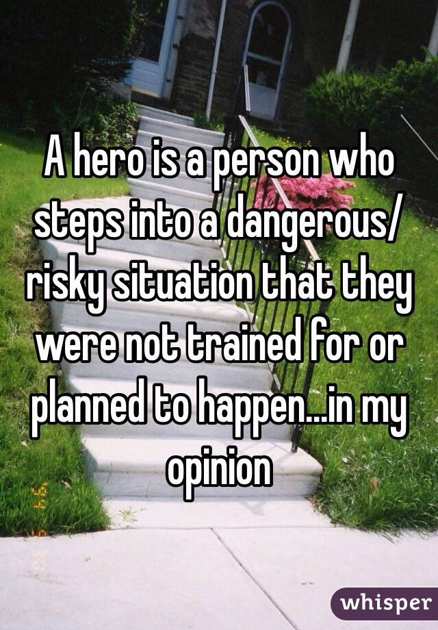 A hero is a person who steps into a dangerous/risky situation that they were not trained for or planned to happen...in my opinion
