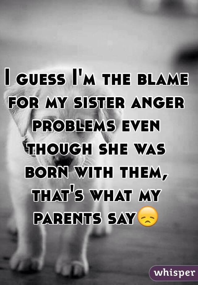 I guess I'm the blame for my sister anger problems even though she was born with them, that's what my parents say😞