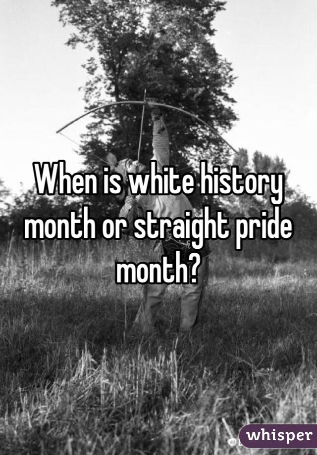 When is white history month or straight pride month?