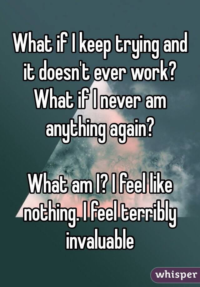 What if I keep trying and it doesn't ever work? What if I never am anything again?  What am I? I feel like nothing. I feel terribly invaluable