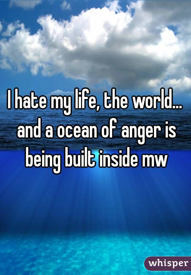 I hate my life, the world... and a ocean of anger is being built inside mw