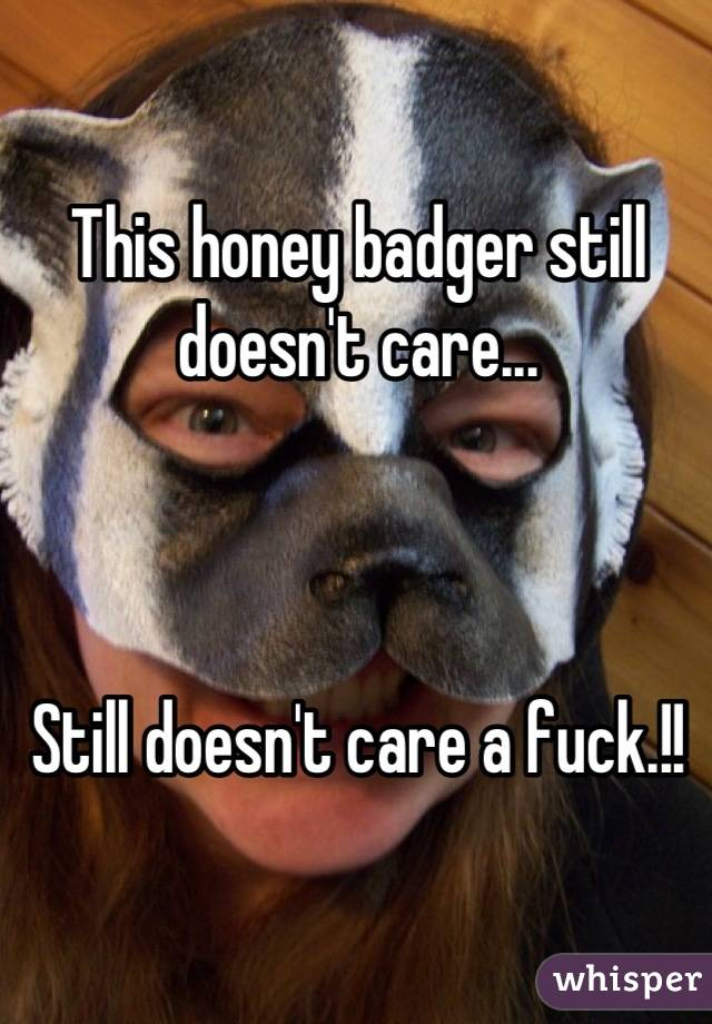 This honey badger still doesn't care...    Still doesn't care a fuck.!!