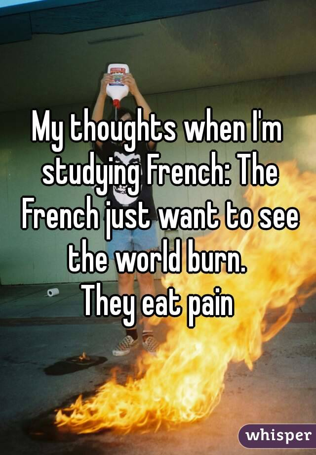 My thoughts when I'm studying French: The French just want to see the world burn.  They eat pain