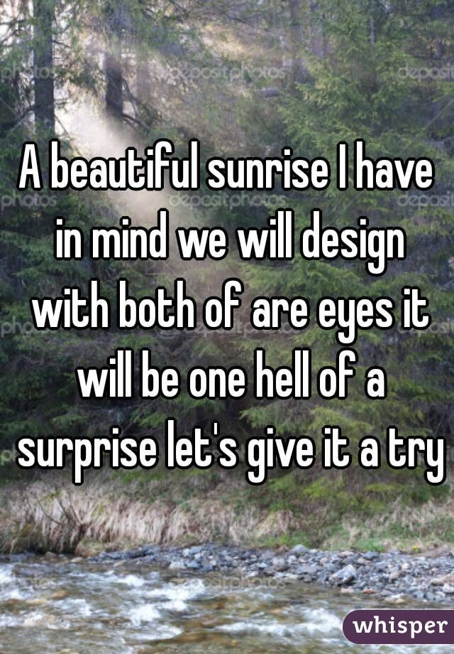 A beautiful sunrise I have in mind we will design with both of are eyes it will be one hell of a surprise let's give it a try