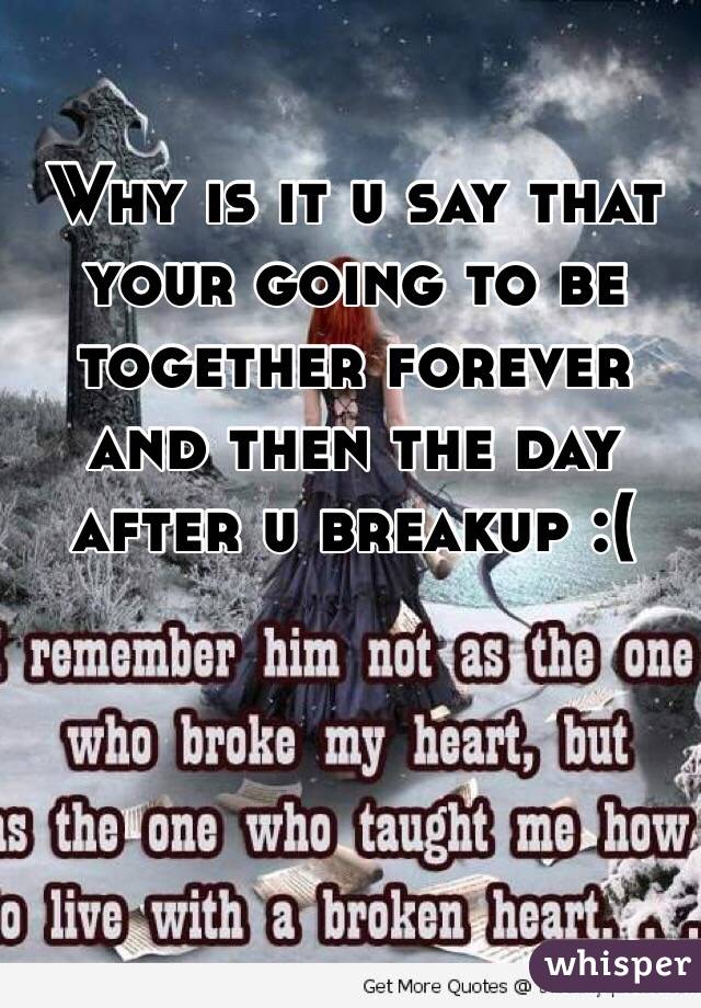 Why is it u say that your going to be together forever and then the day after u breakup :(