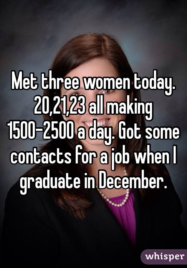 Met three women today. 20,21,23 all making 1500-2500 a day. Got some contacts for a job when I graduate in December.