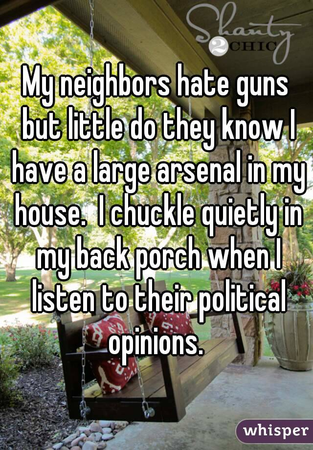 My neighbors hate guns but little do they know I have a large arsenal in my house.  I chuckle quietly in my back porch when I listen to their political opinions.