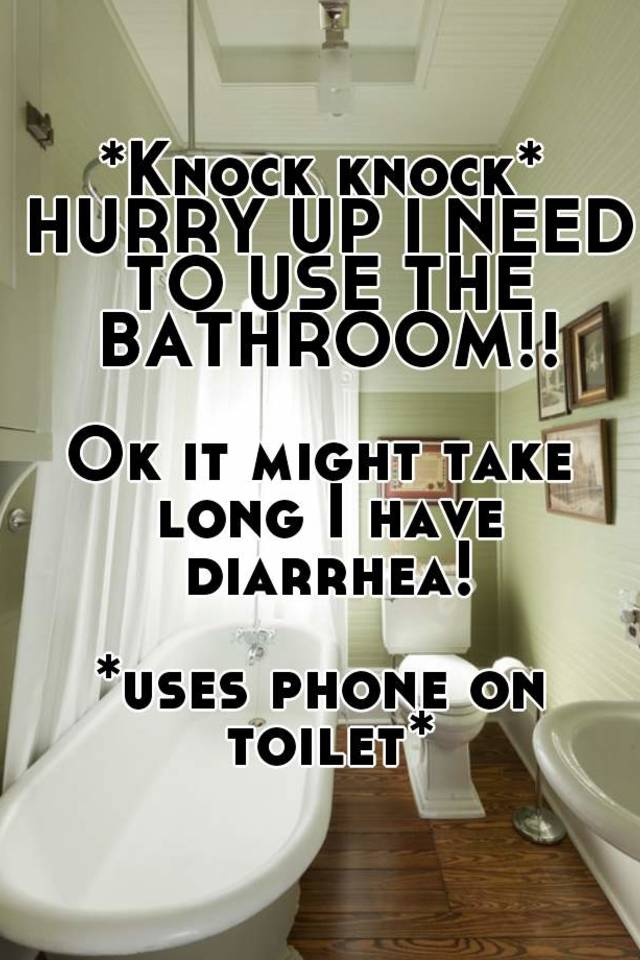 *Knock knock* HURRY UP I NEED TO USE THE BATHROOM!! Ok it might take long I have diarrhea! *uses phone on toilet*
