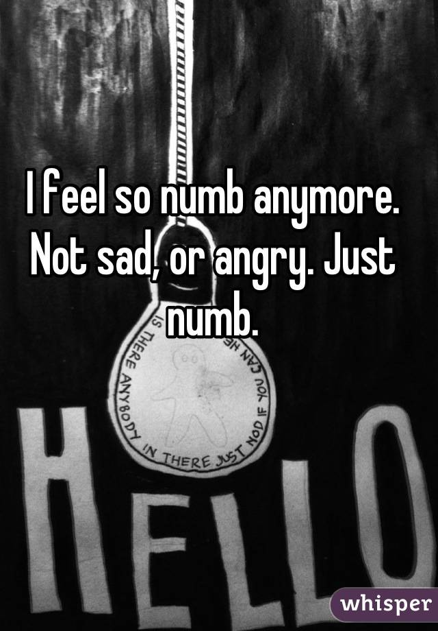 I feel so numb anymore. Not sad, or angry. Just numb.