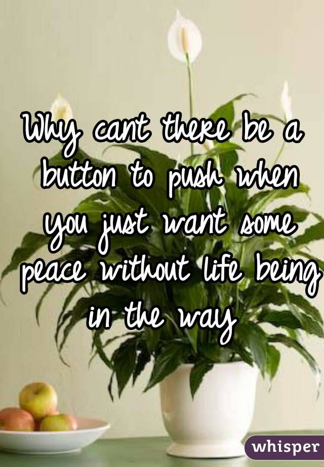 Why cant there be a button to push when you just want some peace without life being in the way