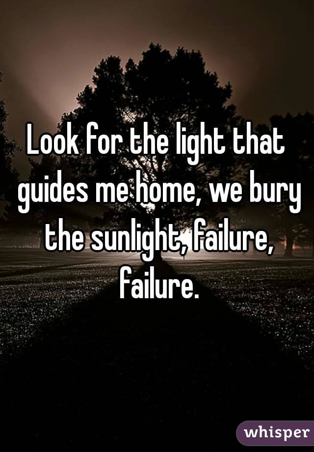 Look for the light that guides me home, we bury the sunlight, failure, failure.