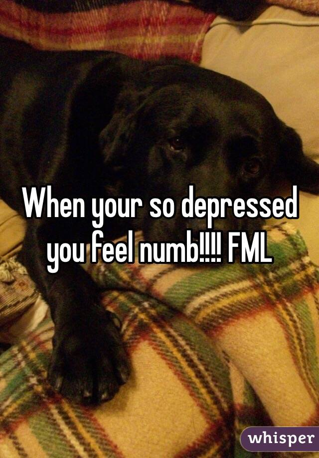 When your so depressed you feel numb!!!! FML