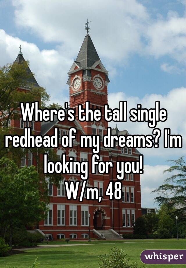 Where's the tall single redhead of my dreams? I'm looking for you!  W/m, 48