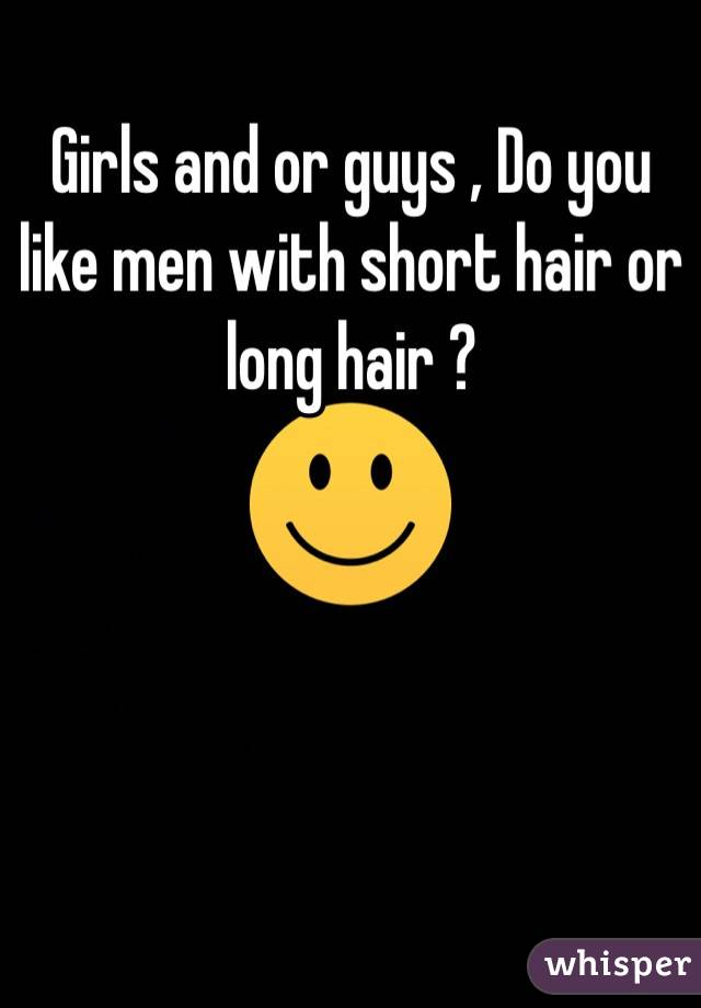 Girls and or guys , Do you like men with short hair or long hair ?