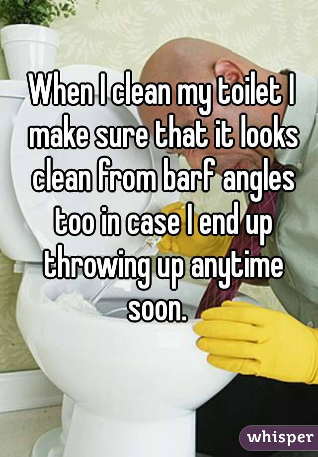 When I clean my toilet I make sure that it looks clean from barf angles too in case I end up throwing up anytime soon.