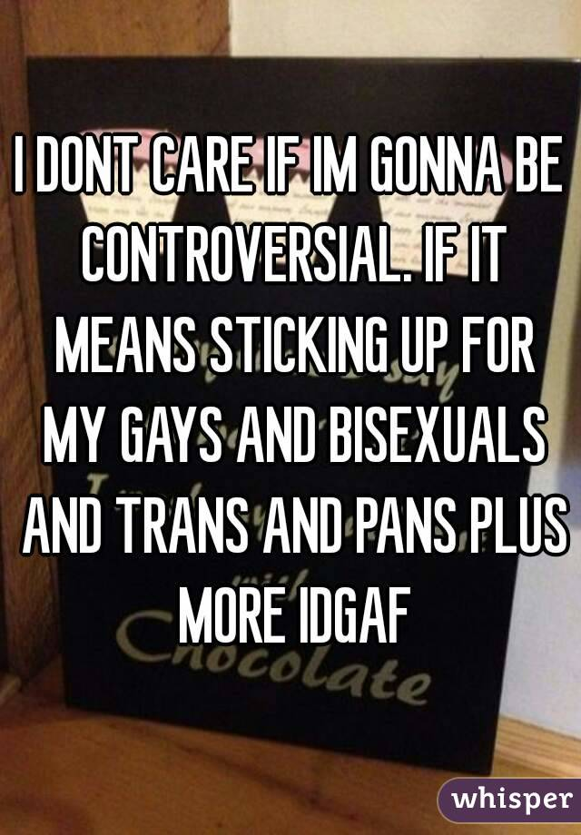I DONT CARE IF IM GONNA BE CONTROVERSIAL. IF IT MEANS STICKING UP FOR MY GAYS AND BISEXUALS AND TRANS AND PANS PLUS MORE IDGAF