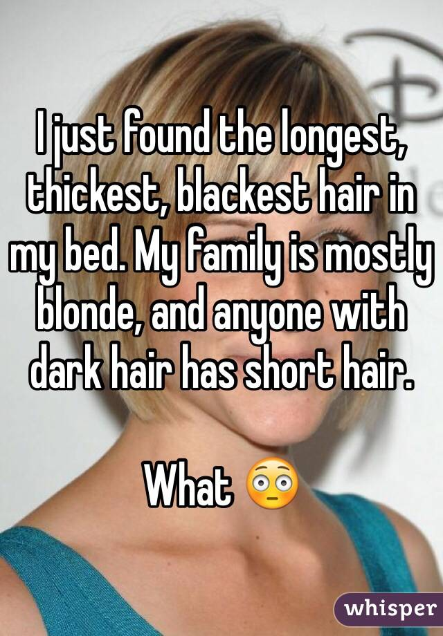 I just found the longest, thickest, blackest hair in my bed. My family is mostly blonde, and anyone with dark hair has short hair.  What 😳