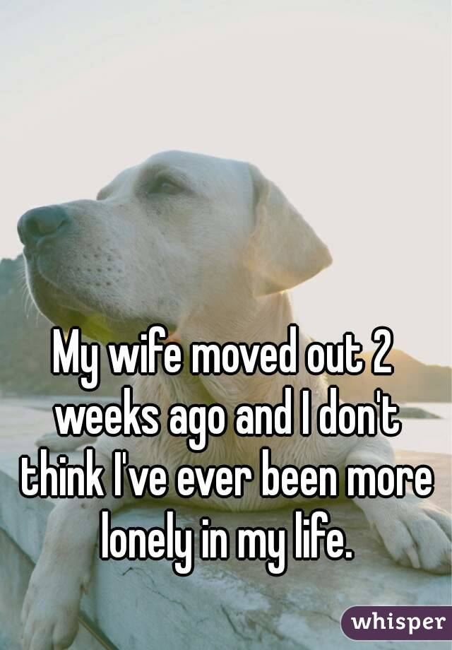 My wife moved out 2 weeks ago and I don't think I've ever been more lonely in my life.