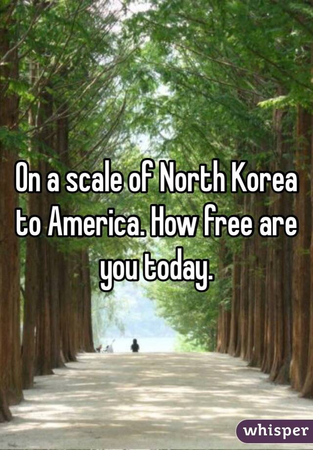 On a scale of North Korea to America. How free are you today.