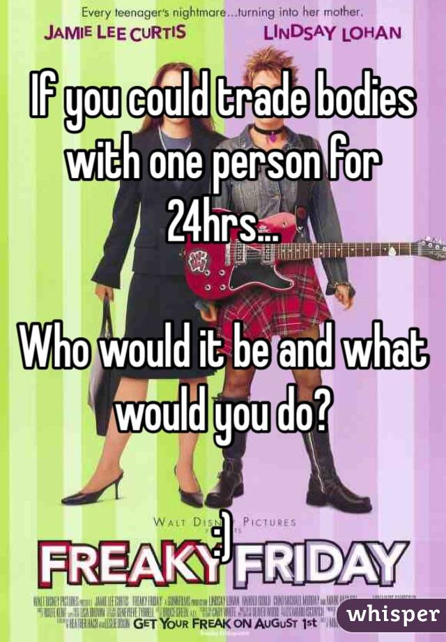 If you could trade bodies with one person for 24hrs...  Who would it be and what would you do?  :)