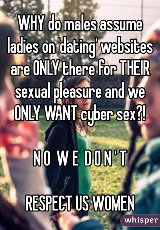 WHY do males assume ladies on 'dating' websites are ONLY there for THEIR sexual pleasure and we ONLY WANT cyber sex?!   N O  W E  D O N ' T   RESPECT US WOMEN