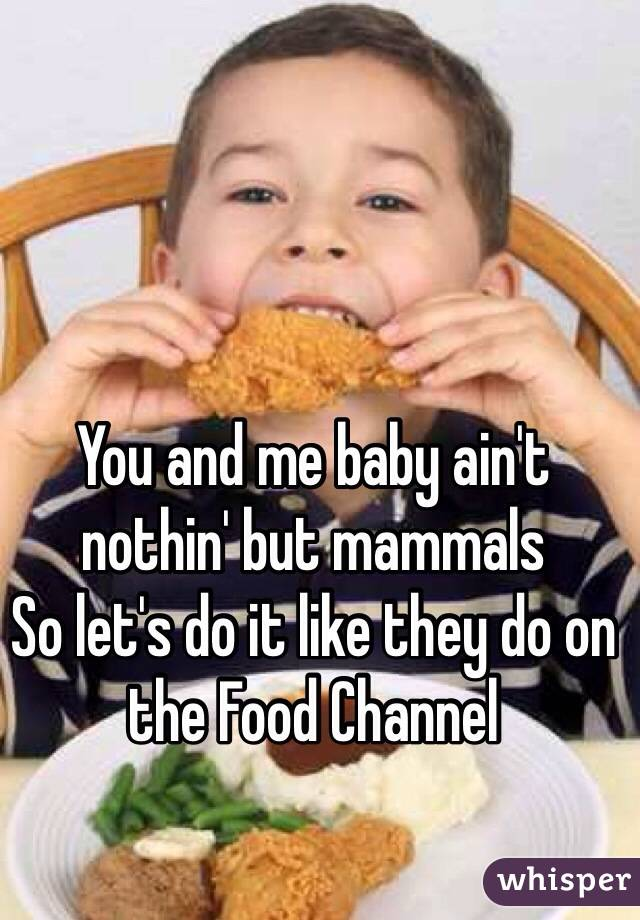 You and me baby ain't nothin' but mammals So let's do it like they do on the Food Channel