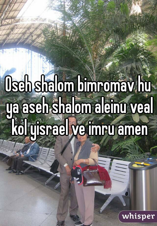 Oseh shalom bimromav hu ya aseh shalom aleinu veal kol yisrael ve imru amen