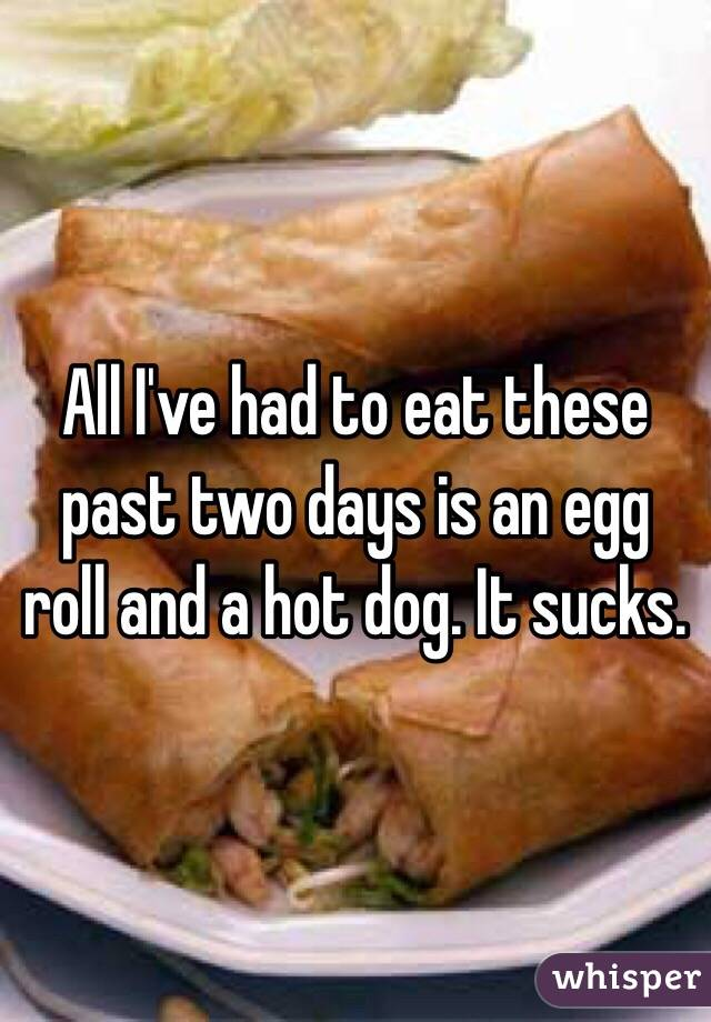 All I've had to eat these past two days is an egg roll and a hot dog. It sucks.