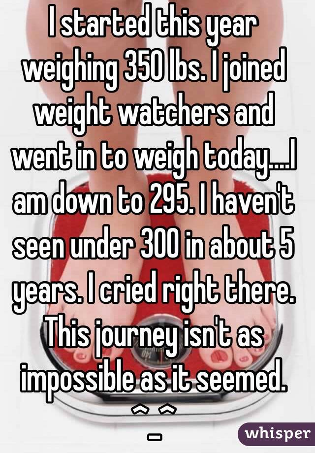 I started this year weighing 350 lbs. I joined weight watchers and went in to weigh today....I am down to 295. I haven't seen under 300 in about 5 years. I cried right there. This journey isn't as impossible as it seemed. ^_^