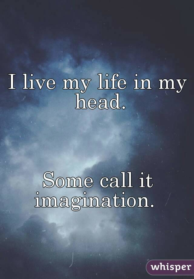 I live my life in my head.    Some call it imagination.