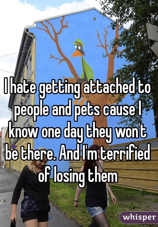 I hate getting attached to people and pets cause I know one day they won't be there. And I'm terrified of losing them