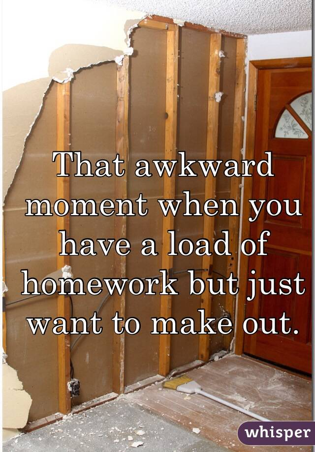 That awkward moment when you have a load of homework but just want to make out.