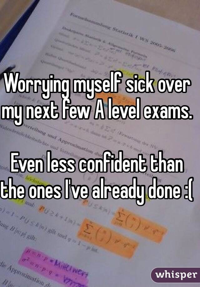 Worrying myself sick over my next few A level exams.  Even less confident than the ones I've already done :(