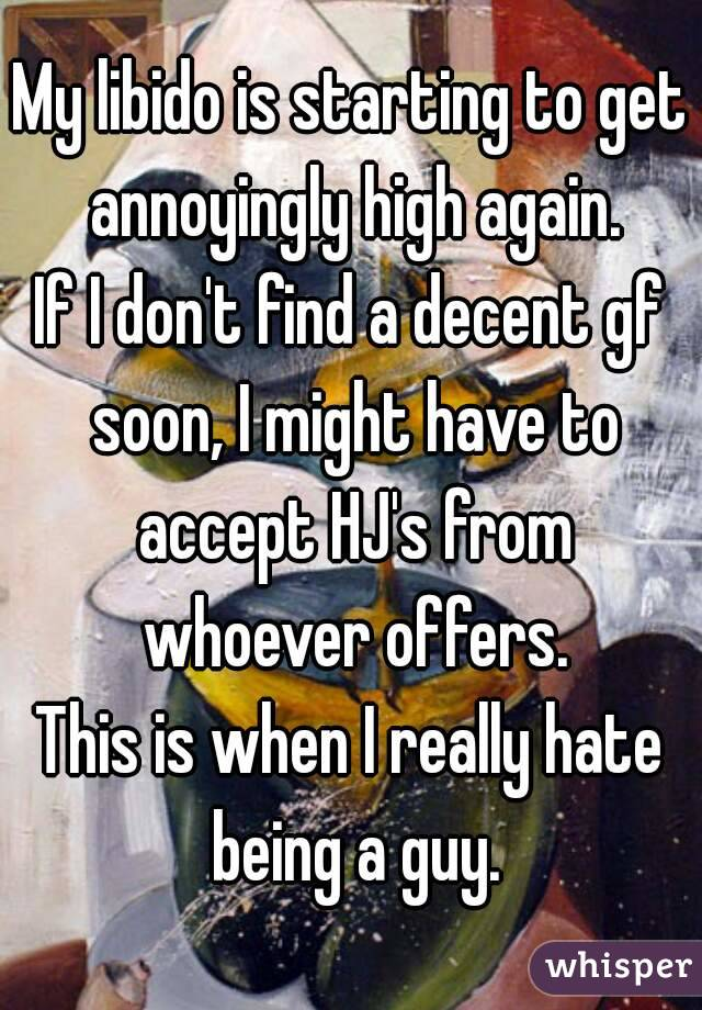 My libido is starting to get annoyingly high again. If I don't find a decent gf soon, I might have to accept HJ's from whoever offers. This is when I really hate being a guy.