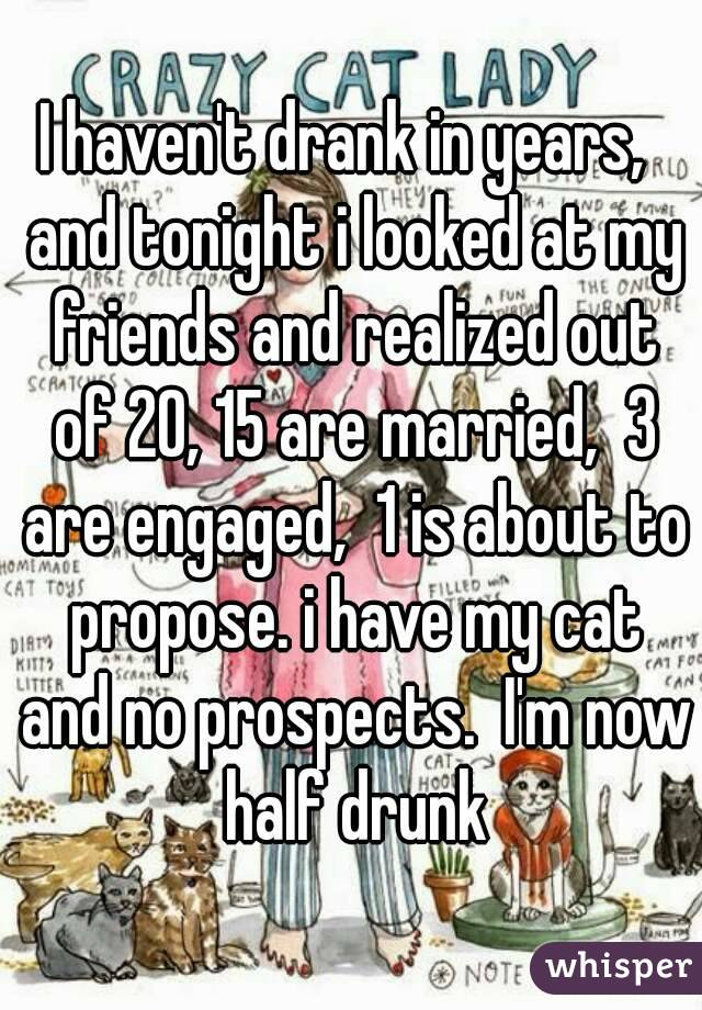 I haven't drank in years,  and tonight i looked at my friends and realized out of 20, 15 are married,  3 are engaged,  1 is about to propose. i have my cat and no prospects.  I'm now half drunk