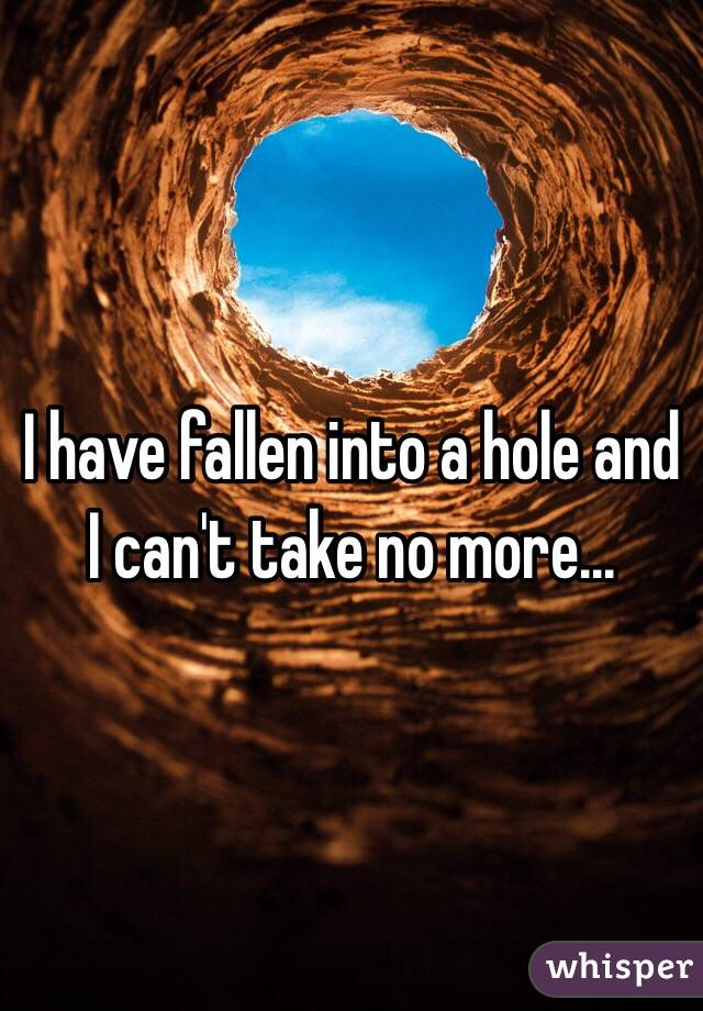 I have fallen into a hole and I can't take no more...