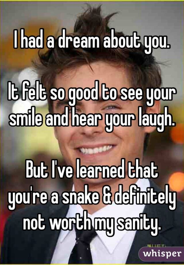 I had a dream about you.   It felt so good to see your smile and hear your laugh.    But I've learned that you're a snake & definitely not worth my sanity.