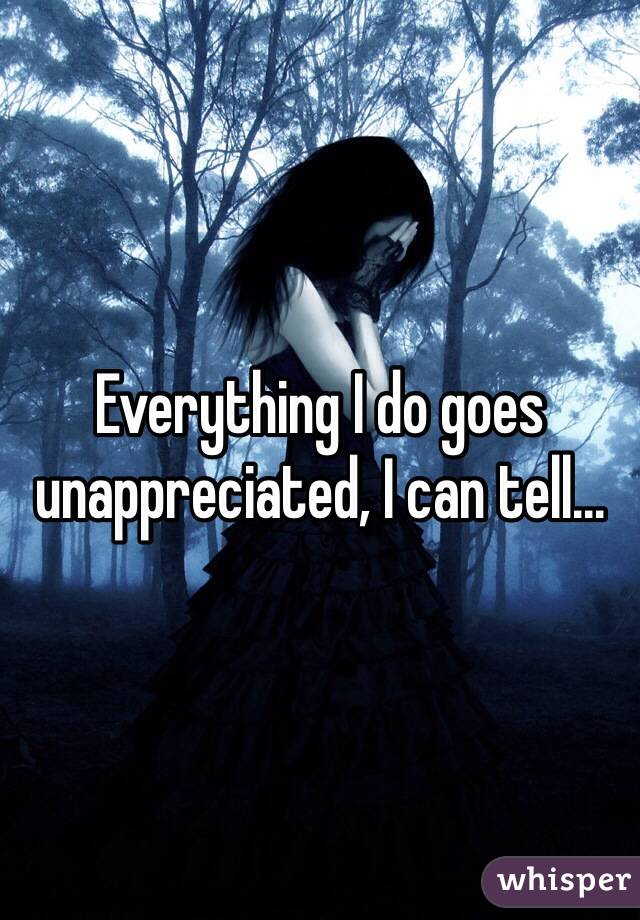 Everything I do goes unappreciated, I can tell...