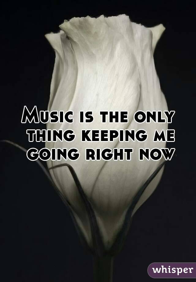 Music is the only thing keeping me going right now