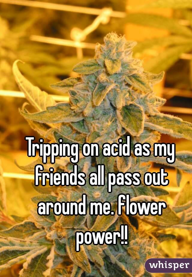 Tripping on acid as my friends all pass out around me. flower power!!