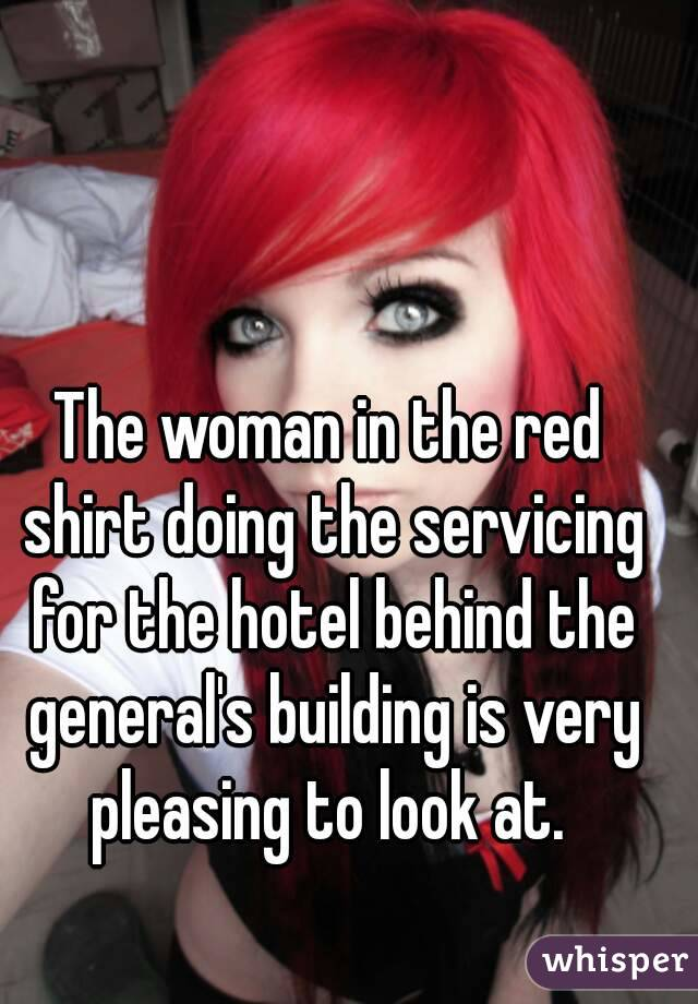 The woman in the red shirt doing the servicing for the hotel behind the general's building is very pleasing to look at.