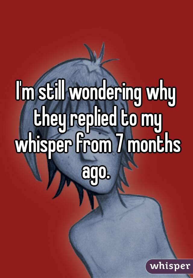 I'm still wondering why they replied to my whisper from 7 months ago.
