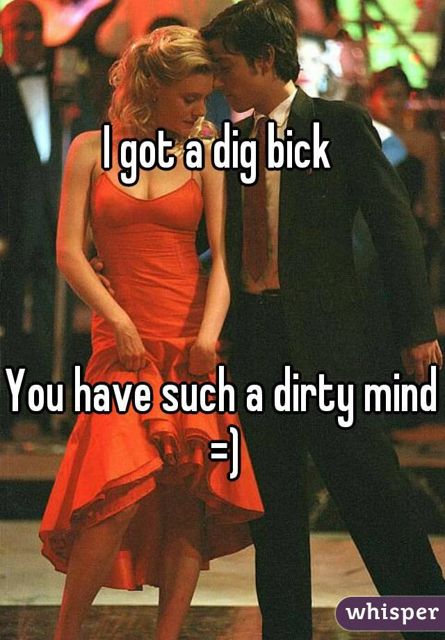 I got a dig bick     You have such a dirty mind =)