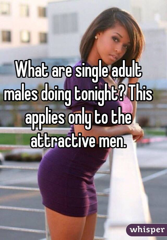 What are single adult males doing tonight? This applies only to the attractive men.